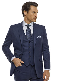 Custom Blue Grid Check Suit - Royal Classic Collection
